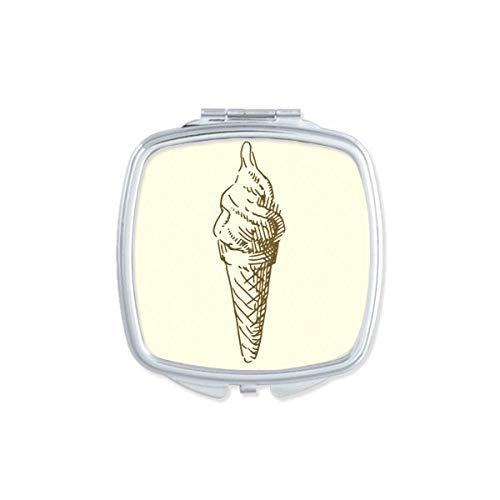 DIYthinker bruin hand tekeningen zoete ijs vierkant compacte make-up spiegel draagbare schattig hand zak spiegel cadeau