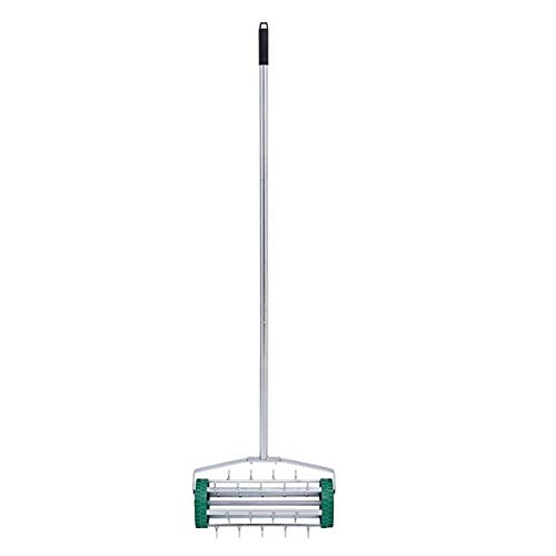 "Simonseason 51"" Rolling Lawn Aerator Dethatcher, Heavy Duty Steel Rotary Push Spike Tine Roller Gardening Tool for Home Garden Yard Patio Grass Soil Aeration - Green"