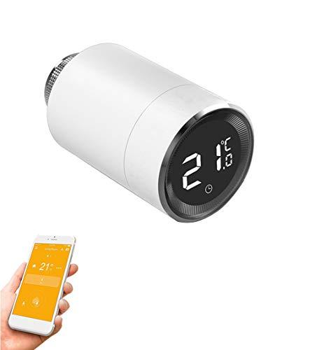 Qiumi Válvula inteligente de radiador termostático con pantalla LCD de temperatura, control automático de temperatura TRV, ZigBee,Con función de detección de ventanas(1 pack)