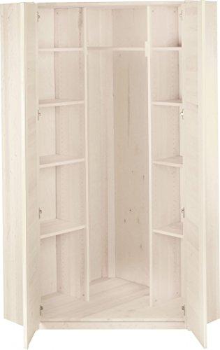 BioKinder 22829 Emil garderobekast hoekkast kinderkledingkast massief hout grenen 204 x 95 x 32 cm wit gelakt
