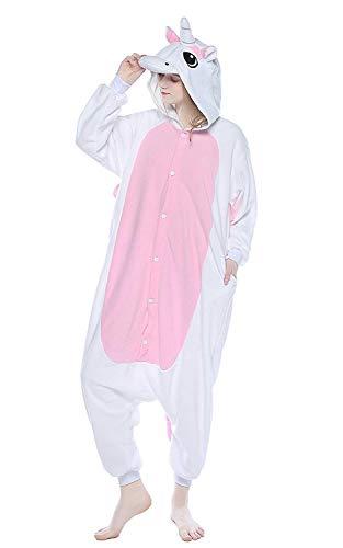 ABYED® Kostüm Jumpsuit Onesie Tier Fasching Karneval Halloween kostüm Erwachsene Unisex Cosplay Schlafanzug- Größe M - für Höhe 156-163CM, Weiß/Rosa Einhorn
