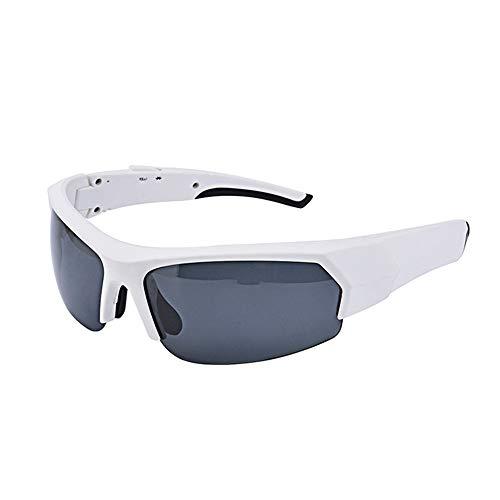Yhjkvl Gafas de ciclismo Auriculares inalámbricos Bluetooth Lentes polarizadas Gafas de sol estéreo Auriculares manos libres para iPhone Samsung mayoría Smartphone o PC (blanco) Gafas deportivas