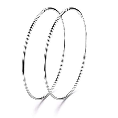 GOXO Sterling Silber Creolen Kreis Endless Loop-Schmuck für Frauen Mädchen