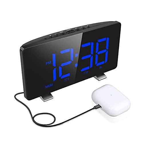 Reloj despertador digital, radio junto al reloj de alarma doble con puerto de carga, 4 niveles de brillo, tiempo de repetición ajustable, sensor de luz automático, reloj despertador con pantalla