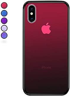 【SUMart】iPhone X ケース ケース グラデーション 強化ガラスケース 硬度9H TPUバンパー ハードケース おしゃれ qi対応 傷つき防止 (iPhone X, ルビーレッド)
