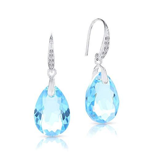 LA SENJA Pendientes de lágrima de cristal azul aguamarina, pendientes de plata de ley 925, pendientes colgantes, hechos a mano
