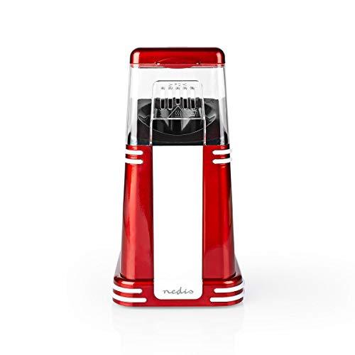 Retro Popcorn Maker, rot mit Heißluft, 1200 W, Popcorn-Maschine inkl. Messlöffel, für fettfreies, kalorienarmes Popcorn