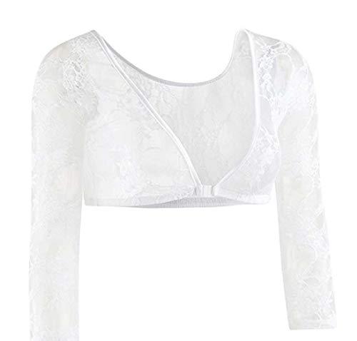 Lalia Bluse Dirndlbluse, zum Dirndl, weiß, Spitze Lange Ärmel, super modern, tolles Geschenk, Kurze Bluse, extravagant, Tracht, Trachtenbluse (S)