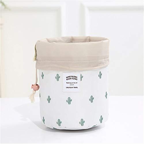 Grande Capacité 1 pcs Femmes cylindre Sac cosmétique Voyage en forme de corde Tirer Organisateur de maquillage Make Sacs Case Up Pouch Wash toilette (Color : White Cactus)