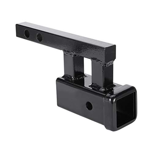 NevSTP Trailer Hitch Towing Extension Adapter, 2-inch Receiver Trailer Hitch Extension Riser with 4-inch Rise/Drop, Dual Hitch Receiver Adapter Extender for Towing & Riser for Bicycle Rack (Black)
