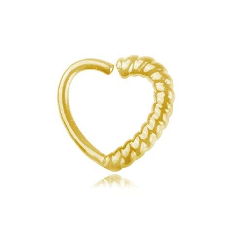 AnazoZ 1PC Aro de Nariz Acero Quirurgico Corazón Oro Pendientes Nariz Mujer