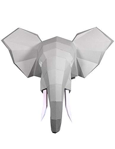 Oh Glam Home Kit DIY Cabeza de Elefante Papercraft Kit Trofeo de Pared cartón 3D Escultura Origami 3D Puzzle 3D PRECORTADO (Plata Metalizado)