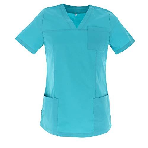 MISEMIYA - Casaca ELÁSTICA SEÑORA Uniforme Laboral Estética CLINICA Hospital Dentista Veterinaria Sanitarios HOSTELERÍA - Ref.G715 - XL, Turquesa