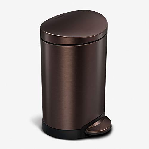 simplehuman 6 Liter / 1.6 Gallon Semi-Round Bathroom Step Trash Can, Dark Bronze Stainless Steel