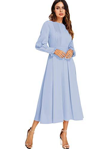 Milumia Women's Elegant Frilled Long Sleeve Pleated Fit