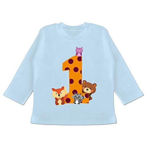Geburtstag Baby - 1. Geburtstag Waldtiere - 12/18 Monate - Babyblau - Baby 1 Jahr mädchen - BZ11 - Baby T-Shirt Langarm