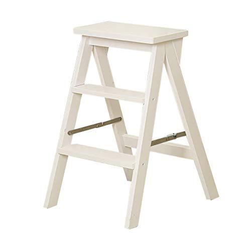 JIN Wit vouwladder 3 dieren in massief hout creatieve stoel voor trappen multifunctionele kruk voor binnenruimtes lichte ladder multifunctionele breedte trapladder stoel
