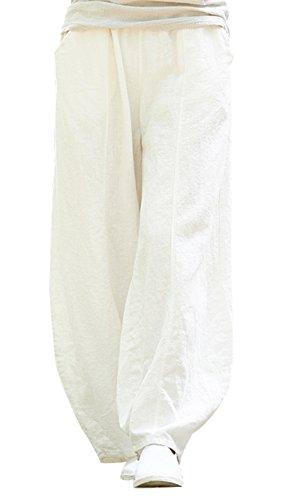Happy Cherry - Femme Pantalon Large Lin Coton Pantalon Ample Casual Pants Bouffant avec Poches Yoga Sport Danse Élastique Taille Élastique Blanc