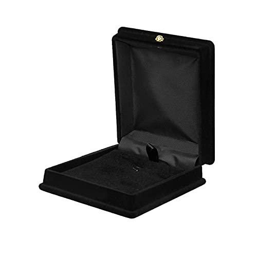 JIEERCUN 1 caja de cadena de almacenamiento de joyería de terciopelo negro para collar y joyas, organizador de pendientes largos, soporte para embalaje de boda, caja de regalo (color: negro)