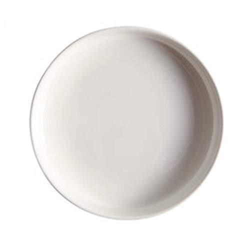Teller Teller Keramik Teller Schüssel Haushalt große Dicke nordische 10-Zoll-Tiefe Schüssel rundes einfaches Geschirr Western Suppenteller (Farbe: Weiss, Größe: 26 * 26 * 3,5CM)