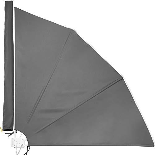 TecTake 800577 Balkonfächer, witterungsbeständig, inkl. Montagematerial, Totalmaße (BxTxH): ca. 140x7,5x140cm - Diverse Farben - (Anthrazit | Nr. 402875)