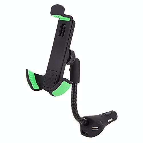 NOVHOME Soporte para teléfono para automóvil, Soporte para teléfono para automóvil con 3 Puertos USB Cargador rápido para automóvil Encendedor de Cigarrillos Soporte Flexible de Cuello de