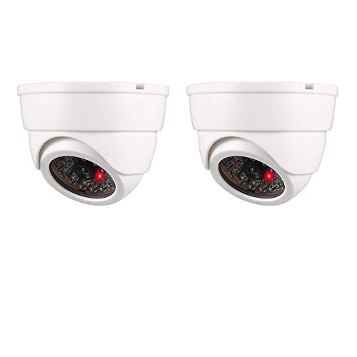 Dummy Fake Security Dome Camera Simulated Surveillance Cameras for Home & Business Security Outdoor/Indoor use with Flashing Red LED Light & Security Alert Sticker, Battery Powered, White, 2 Pack