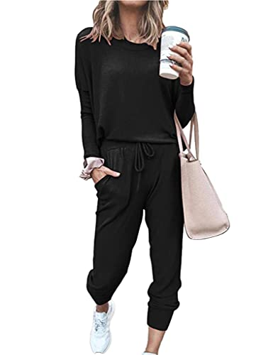 Sykooria Conjunto Chándal Mujer, Conjuntos Deportivos para Mujer Completo Traje Deportivo Conjunto Casual Manga Larga Sudadera y Pantalón Chándal Mujer 2 Piezas para Primavera Otoño