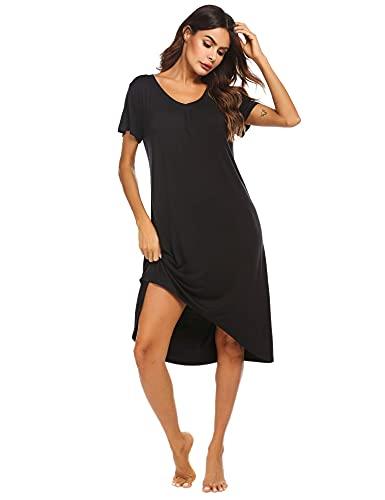 Ekouaer Women's Nightgown Sleepwear Short Sleeves Shirt Casual Sleepdress Black