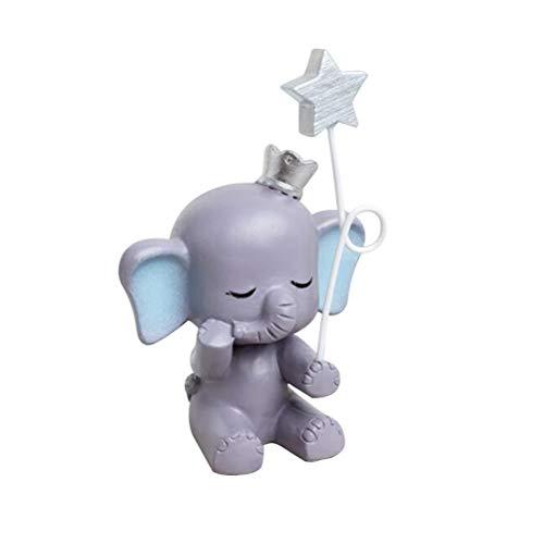 Healifty Figur für Kuchen, aus Kunstharz, Elefant, süße Statue mit Stern, Ornament, Tortendekoration