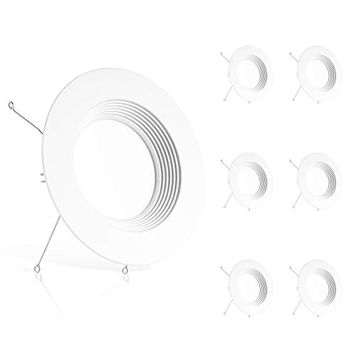 Ensenior 6 Pack 5/6 Inch LED Recessed Downlight, Baffle Trim, 5000K Daylight, 12W 110W Eqv, Dimmable Downlight, 1100LM High Brightness - ETL and Energy Star Certified