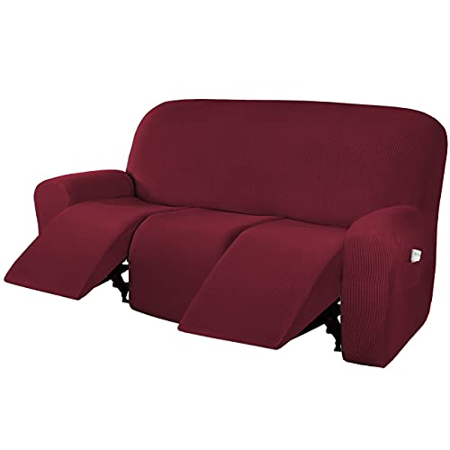 H.VERSAILTEX Super Stretch Recliner Sofa Covers Reclining Couch Covers Recliner Sofa Slipcovers 3 Seater Furniture Covers Thick Soft Jacquard Fabric Form Fitting and Easy Put On, Burgundy