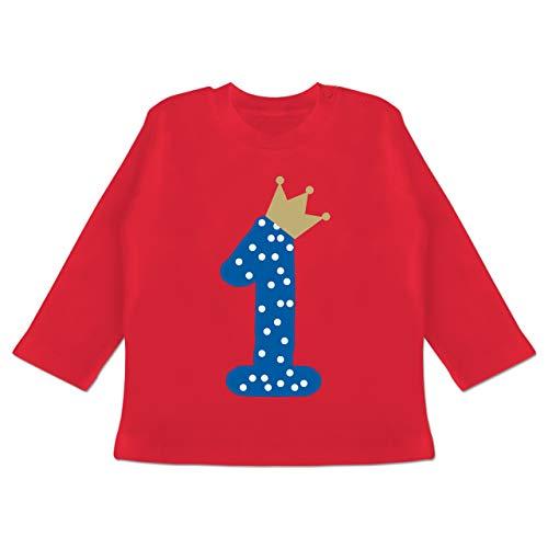 Shirtracer Geburtstag Baby - 1. Geburtstag Krone Junge Erster - 3/6 Monate - Rot - Geburtstag Junge 1 Jahr - BZ11 - Baby T-Shirt Langarm
