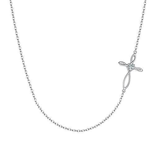 Colar de gargantilha com nó de cruz celta de prata esterlina 925 CZ Religious Church Sideways da Ever Faith para mulheres, meninas