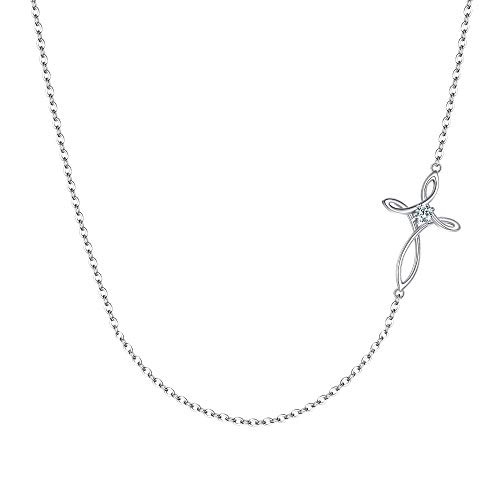 EVER FAITH 925 Sterling Silver CZ Jewelry Religious Church Sideways Celtic Knot Cross Choker Necklace for Women, Girls