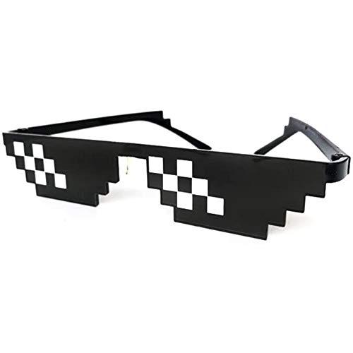 Zhenwo Thug Life Sunglasses, Sunglasses, Sunglasses, Sunglasses, Sunglasses with 8 Bit Pixels, Mosaic, Unisex Sunglasses Toy, Style MLG Shades 2pcs,Schwarz