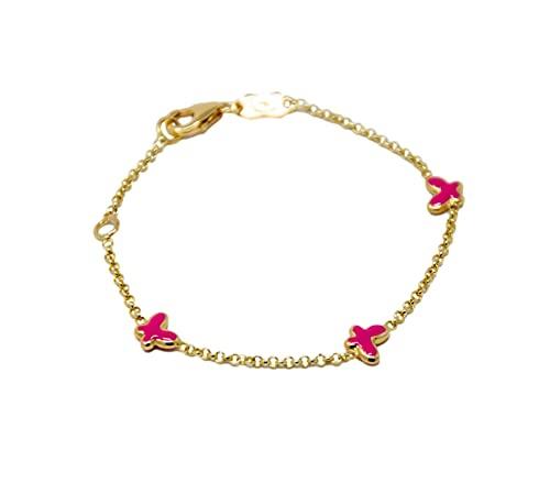 Pulsera de oro amarillo de 18 quilates 750 para bebé o niña con mariposas esmaltadas rosa de doble medida de longitud ajustable.