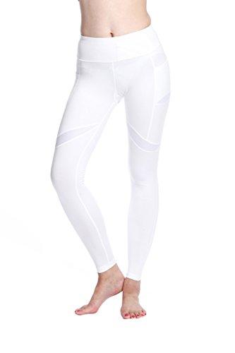 Lotus Instyle Damen Yoga Leggings Jogginghose Athletische Sport Hose White-M