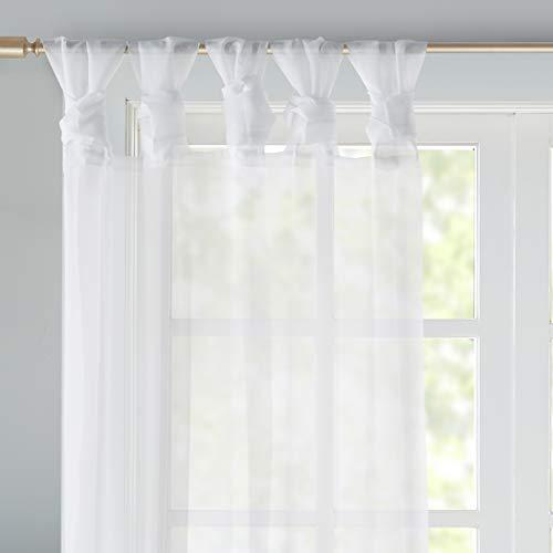 Gardinen Schals mit DIY-Twist-Tab Design Vorhänge Transparent Vorhang für kleine Fenster Ceres White, kurz (2er-Set, je 175x140cm)