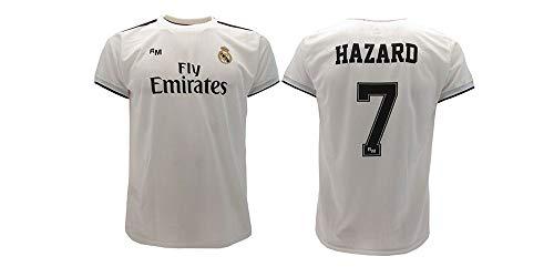 Real Madrid Camiseta de Fútbol Replica Oficial con Licencia Hazard Blanco número 7 en blíster Regalo - Todos Los Tamaños NIÑO y Adulto - 12 años