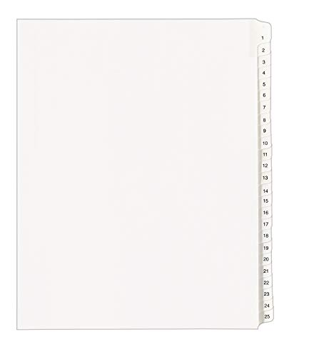 Avery Collated Legal Exhibit Dividers for 3 Ring Binders, Tabs 1-25, White, 1 Set (01701)