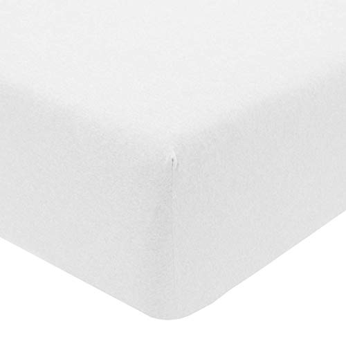 Sleepdown Jersey Melange-Sábana Bajera Ajustable (90 x 190 cm), Color Blanco, algodón poliéster, Suelto