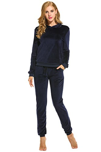 Hotouch Womens Fashion Hoodie Velour 2 Piece Sweatsuit Set Navy Blue S