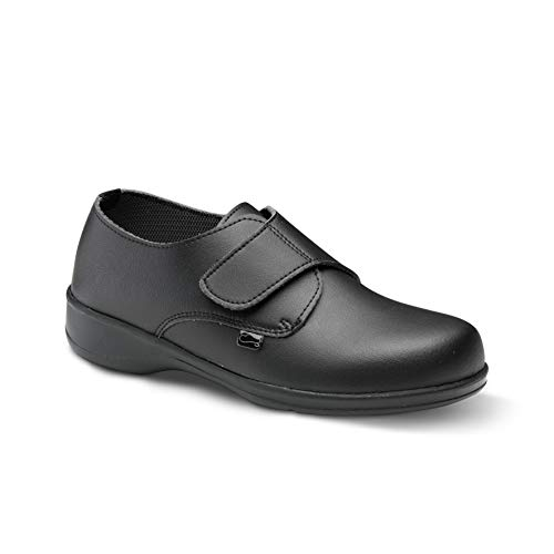 Feliz Caminar - Zapato Laboral Comodón Velcro Negro, 38