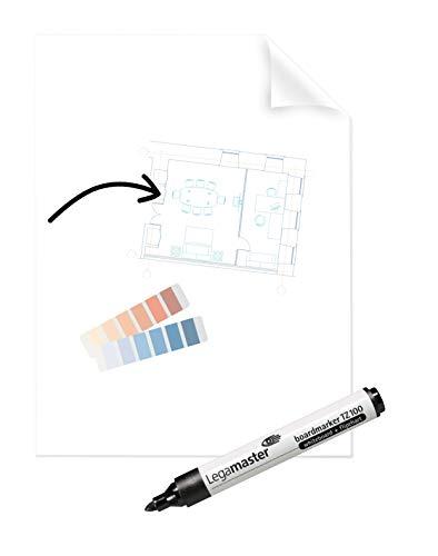 Legamaster 7-159300 Magic-Chart Clearboard, selbsthaftende Folie für verschiedene Oberflächen, gerollt 25 Blatt (je 60 x 80 cm) + Marker