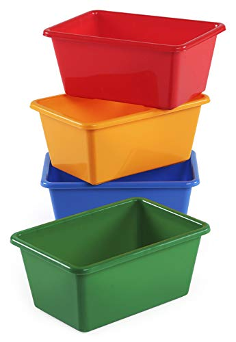 Tot Tutors Kids' Primary Colors Small Storage Bins, Set of 4