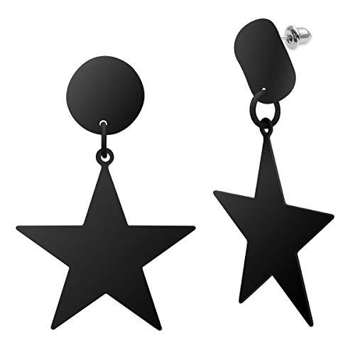 SoulCats® 1 Paar Stern Ohrstecker im 80er Jahre Stil aus Metall für Damen in der Farbe schwarz