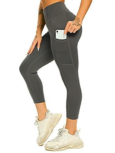 FITTOO Leggings para mujer Scrunch Butt Po Lifting Push Up, pantalones de deporte, anticelulitis, cintura alta, pantalones de jogging para fitness, entrenamiento, gimnasio 3/4 Gris (Bolsillos) L