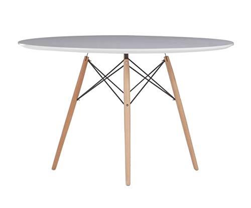Rojas Mobiliario - Mesa Comedor o Cocina Redonda Tower Wood/Lacado blanco100 cm, Calidad nordica