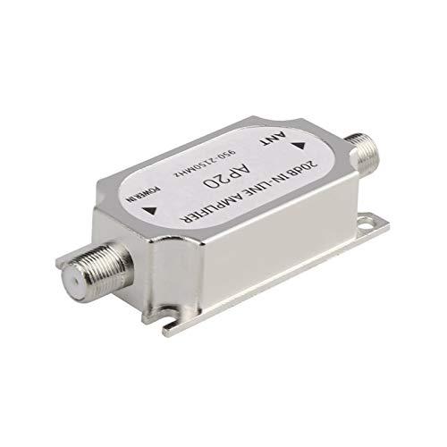 DZJUKD SATELITE 20DB Amplificador en línea Booster 950-2150MHz Booster de señal para el Cable de la Antena de la Red de Plato Run Strength para Cable, módem, (Color : Silver)